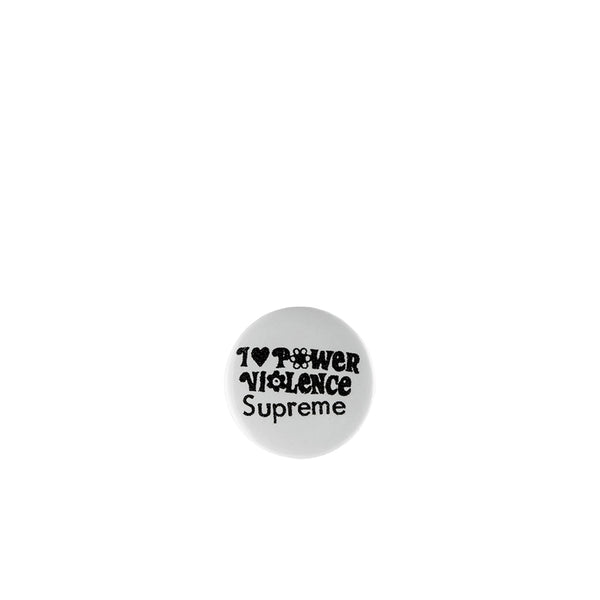SUPREME POWER VIOLENCE BUTTON WHITE SS19