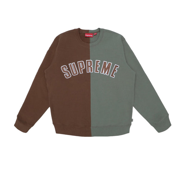 SUPREME SPLIT CREWNECK SWEATSHIRT BROWN FW18