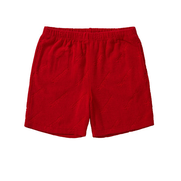 SUPREME TERRY JACQUARD LOGO SHORTS RED SS19