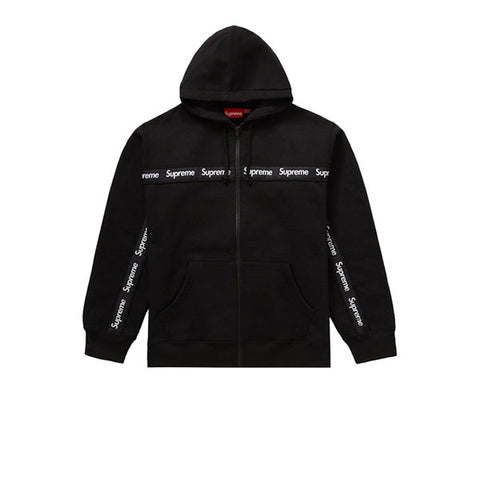 SUPREME TEXT STRIPE ZIP UP HOODED SWEATSHIRT BLACK FW19