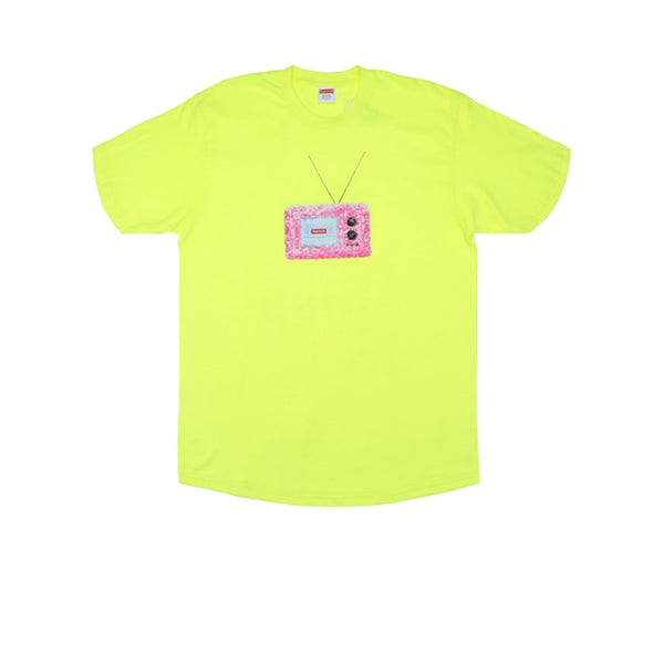 SUPREME TV TEE BRIGHT YELLOW SS18