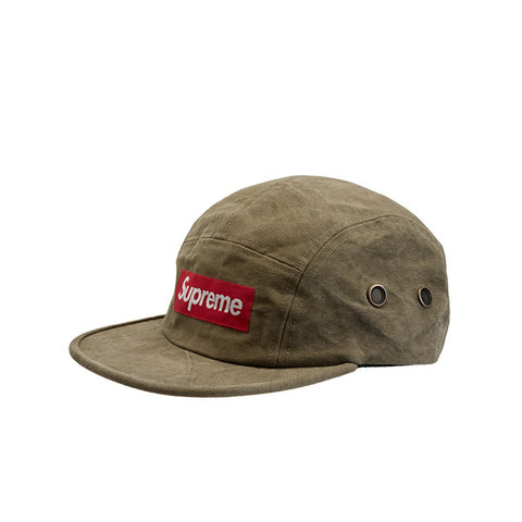 SUPREME WASHED CANVAS CAMP CAP OLIVE FW19