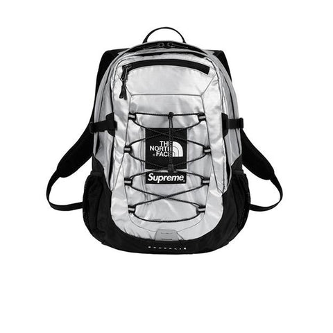SUPREME X THE NORTH FACE METALLIC BOREALIS BACKPACK SILVER