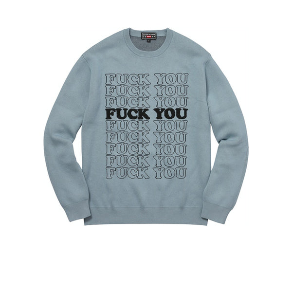 SUPREME HYSTERIC GLAMOUR FUCK YOU SWEATER LIGHT BLUE FW17