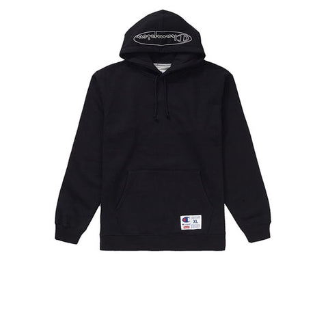 SUPREME CHAMPION OUTLINE HOODED SWEATSHIRT BLACK SS19