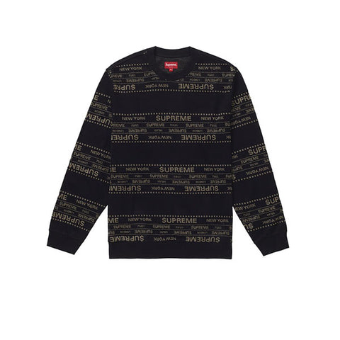 SUPREME METALLIC JACQUARD CREWNECK BLACK SS19