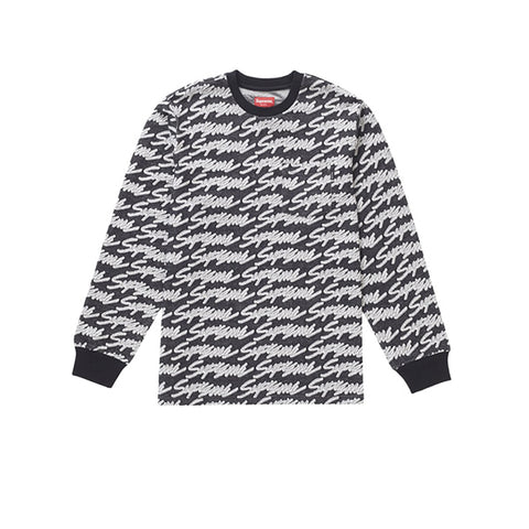 SUPREME SIGNATURE SCRIPT LOGO L/S POCKET TEE BLACK SS19