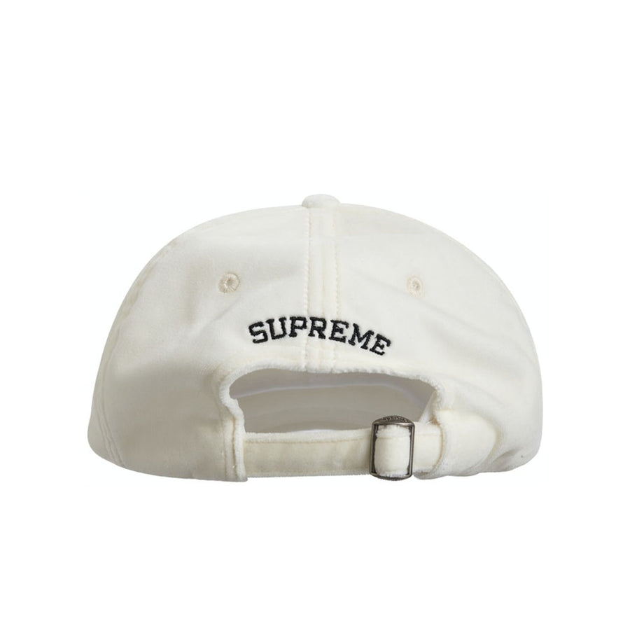 SUPREME VELVET S LOGO 6-PANEL WHITE FW20