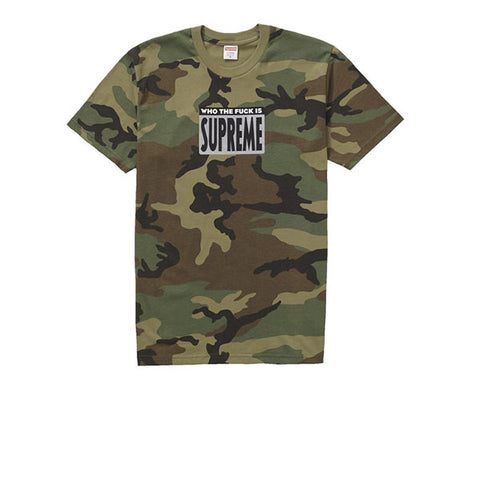 SUPREME WHO THE FUCK TEE WOODLAND CAMO SS19