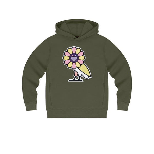 TAKASHI MURAKAMI X OVO SURPLUS FLOWER OWL HOODIE MILITARY GREEN