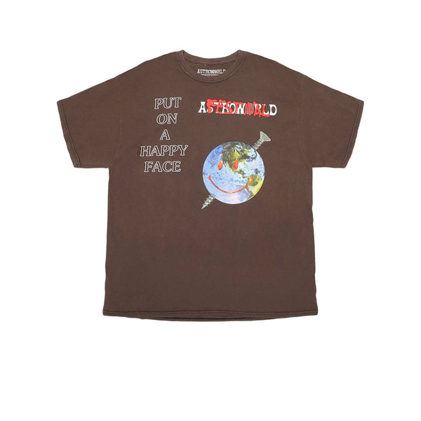 TRAVIS SCOTT HAPPY FACE FESTIVAL TEE BROWN