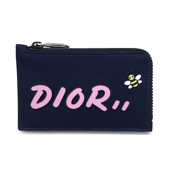 DIOR X KAWS ZIPPED CARD AND COIN HOLDER NAVY
