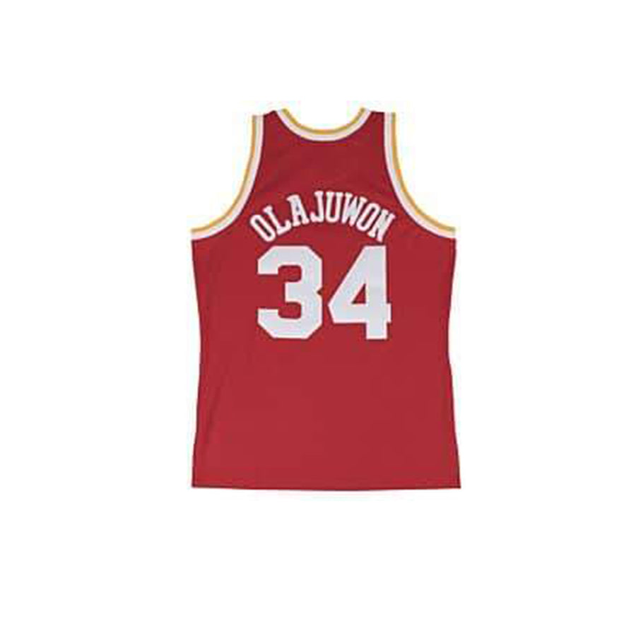 MITCHELL & NESS NBA HARDWOOD CLASSIC SWINGMAN HOUSTON ROCKETS HAKEEM OLAJUWON 1993-94 ROAD JERSEY SCARLET
