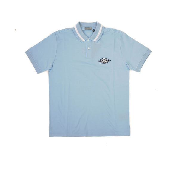 DIOR X AIR JORDAN MEN POLO SHIRT LIGHT BLUE
