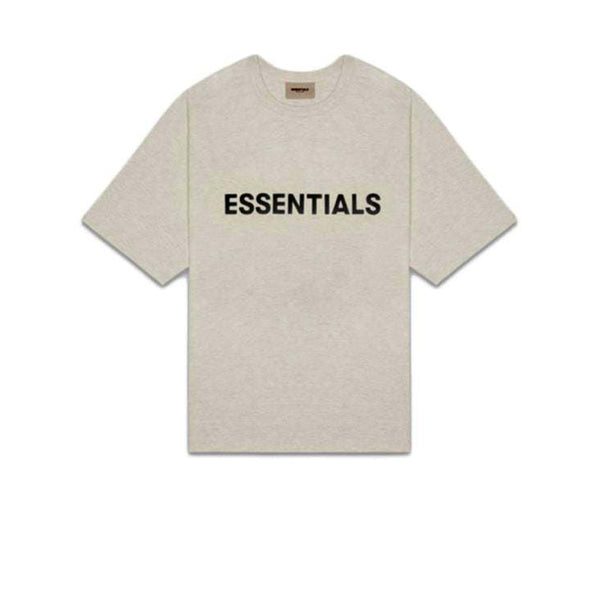 FEAR OF GOD ESSENTIALS 3D SILICON APPLIQUE BOXY TEE LIGHT HEATHER OATMEAL
