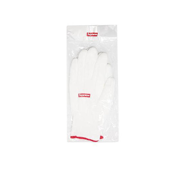 SUPREME RUBBERIZED GLOVES WHITE FW20