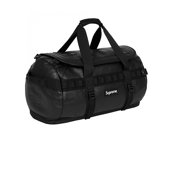 SUPREME THE NORTH FACE LEATHER BASE CAMP DUFFLE BAG BLACK