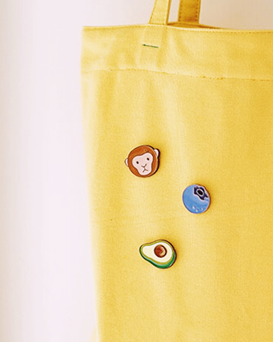 Avocado, Monkey, Peach, Blueberry Pins