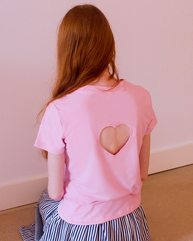 Back Cropped Heart Tee