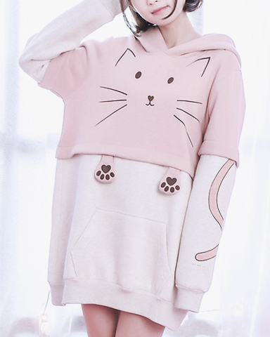 Pretty Cat Face Pink Hoody