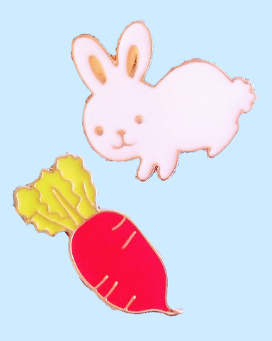 Cute Carrot & Bunny Pins
