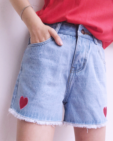 High Waist Heart Denim Shorts