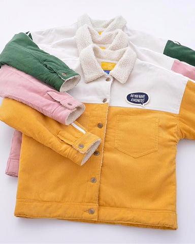 Fluffy Block Color Jacket