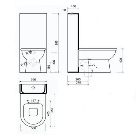 Celino Modern Closed Couple Combined Bidet Toilet With
