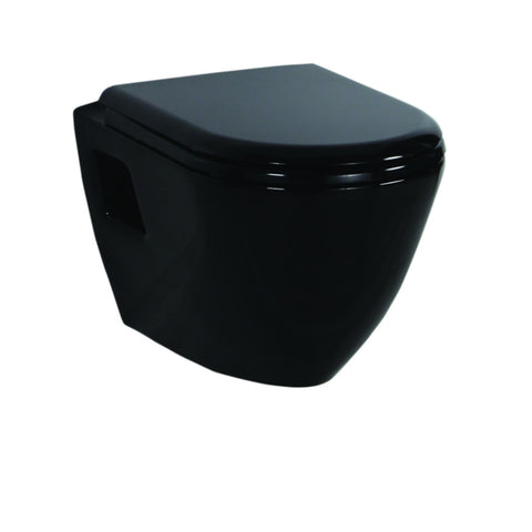 Short Projection BLACK Wall Hung Combined Bidet Toilet With Soft Close Seat