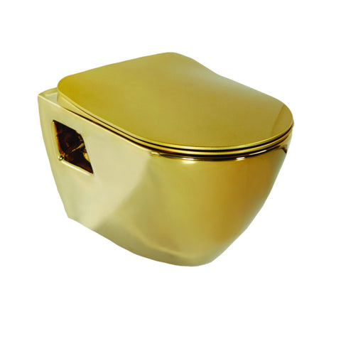 Short Projection GOLD Wall Hung Combined Bidet Toilet With Soft Close Seat
