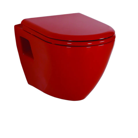 Short Projection RED Wall Hung Combined Bidet Toilet With Soft Close Seat