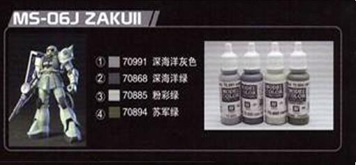 Vallejo MS-06J ZAKU II Paint set 4 Colors