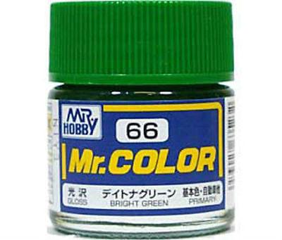 GUNZE MR HOBBY COLOR LACQUER C66 BRIGHT GREEN MODEL KIT PAINT 10ml