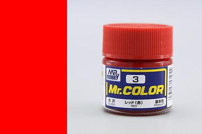 GUNZE MR HOBBY COLOR LACQUER C03 Red MODEL KIT PAINT 10ml