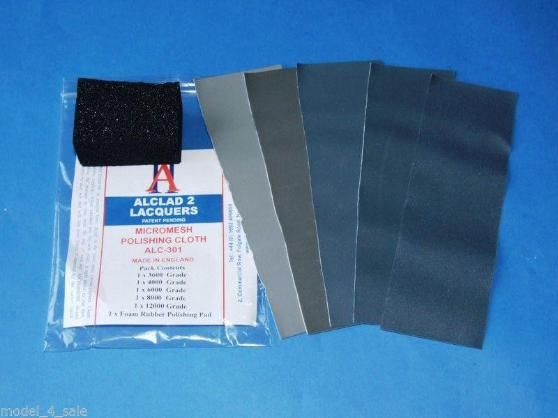 Micromesh Polishing Cloth Set (5 diff grades & rubber support block)