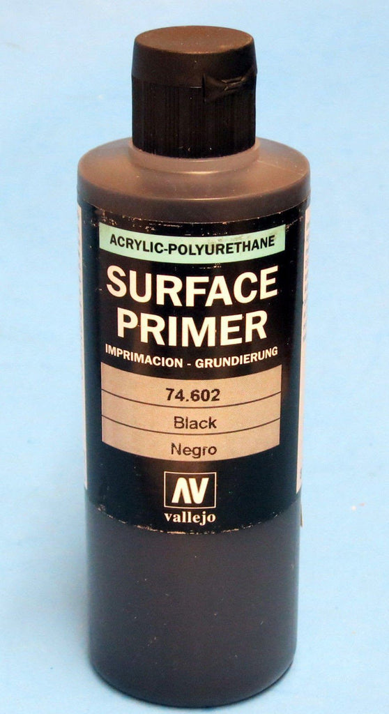 Vallejo SURFACE PRIMER 74.602 BLACK 200ml / 6.76oz Acrylic SUPER SIZE BOTTLE