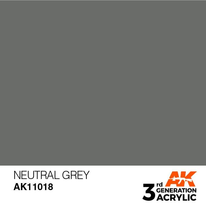 AK Interactive 3rd Gen Acrylic Neutral Grey 17ml