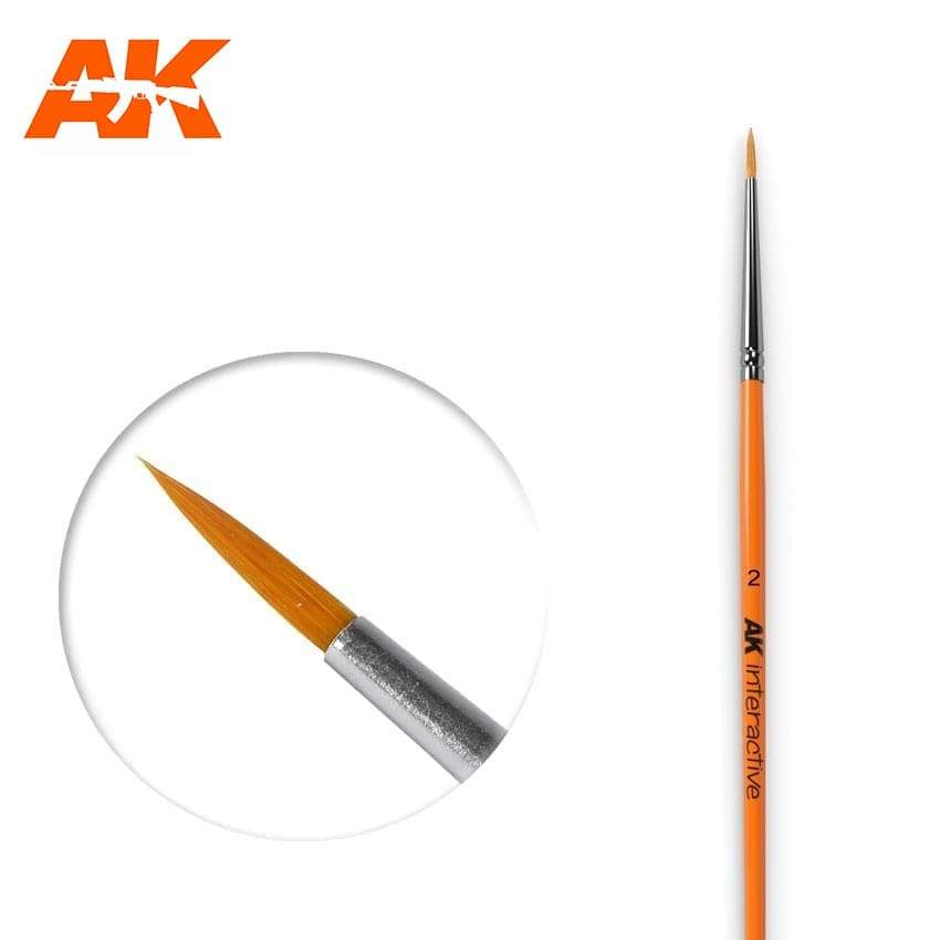 AK Interactive Round Brush 2/0 Synthetic
