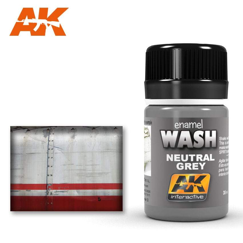 AK Interactive Neutral Grey For White/Black Wash