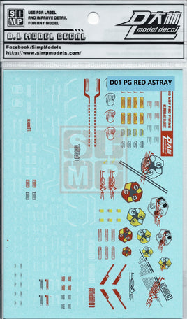 PG Astray Red Frame Water Slide Decals