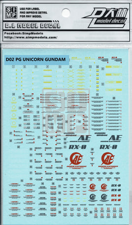 PG Unicorn Gundam Water Slide Decal