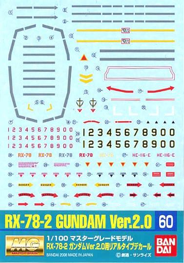 Gundam Decal 60 - MG Gundam Ver 2.0