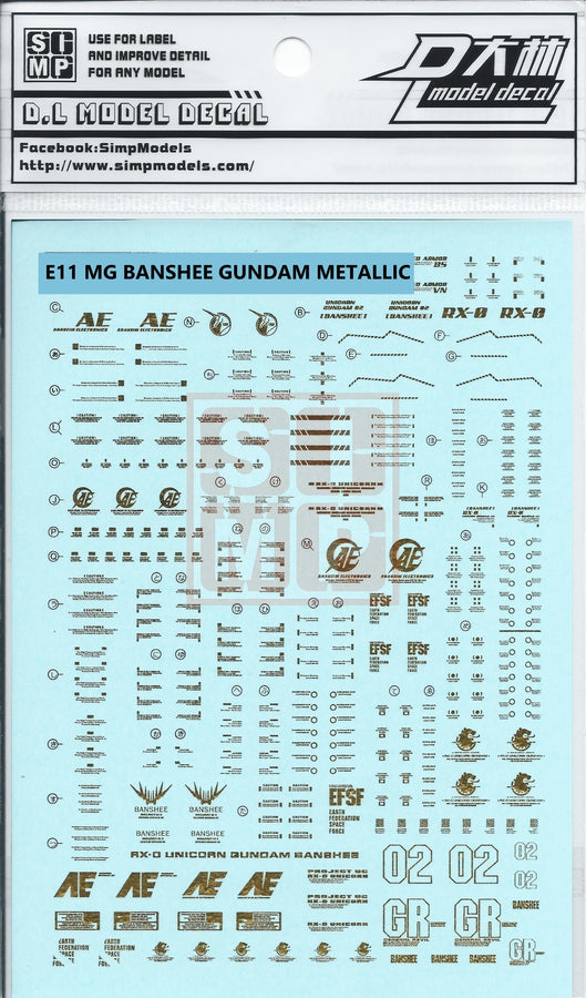 MG Banshee Gundam Metallic Water Slide Decal