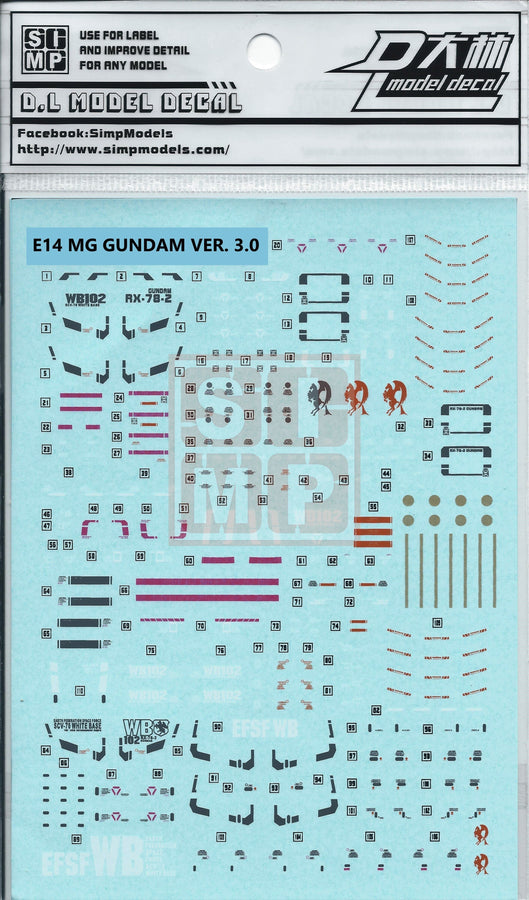 MG RX-78-2 3.0 Water Slide Decal
