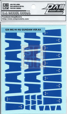 MG Hi Nu Gundam Ver. Ka Water Slide Decal