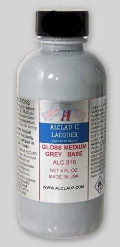 GLOSS MEDIUM GREY BASE - 4 oz. Alclad II Airbrush Lacquer #316