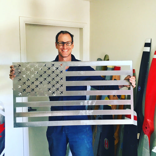 Aluminum American Flag with Commerical Aircraft for Stars