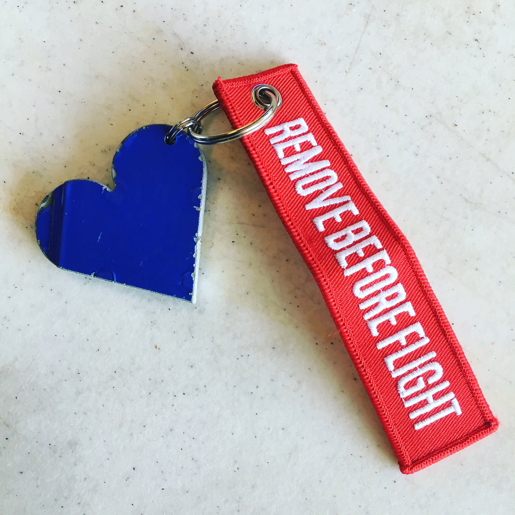 Former Southwest Airlines fuselage heart with remove before fight tag