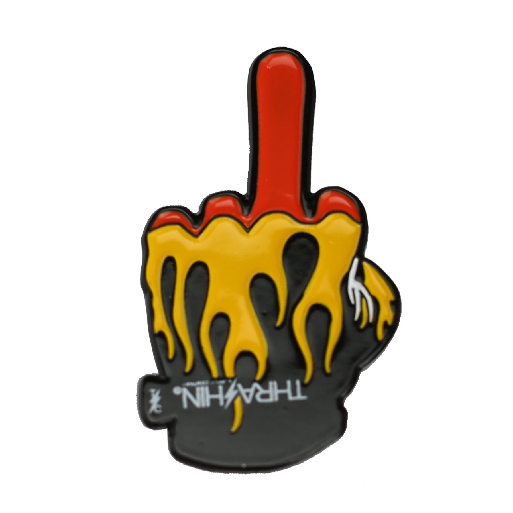 Middle Finger Flame Glove Emoji Lapel Pin