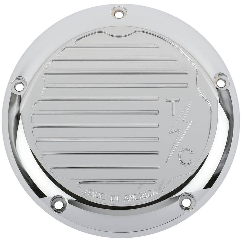 Finned 5 Hole Derby Cover - M8 Bagger (Chrome)